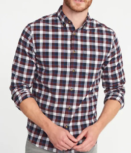 Casual Button Down Shirt Mens Small Slim Fit Red Check Old Navy Stretch Fabric