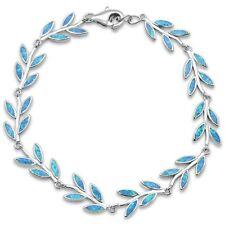 Blue Opal Greek Leaf Olive Branch .925 Sterling Silver Bracelet