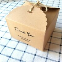 40x Kraft Boxes Party Wedding Favour Personalised Thank You Gift Boxes Logo Box