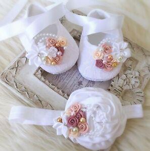Baby Girl White Christening Shoes Baptism Headband Satin Roses Pearls  Set