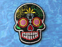 REDUCED!!! Goth Black Sugar Skull /DAY OF THE DEAD applique IRON ON PATCH
