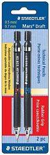Staedtler Mars Drafting Tech Pencils, 2 PK, 4H/3H/2H/H/F/HB/B, 0.5/0.7 mm