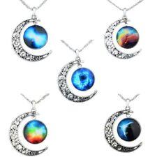Universe Moon Charm Glass Cabochon Necklace Chain Pendant Statement Jewelry