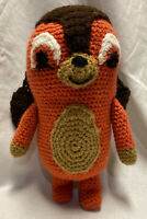 "Amigurumi Hand Made Crochet 12"" Plush Dog Puppy Orange Brown Stuffed Animal"