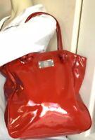 ANTONIO MELANI WOMEN'S TOTE SHOPPERS BAG RED PATENT PVC HANDBAG
