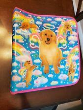 Lisa Frank Angel Puppies Zipper 3 Ring Binder Glitter Puppy Rainbow Vintage