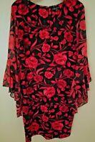Sami & Jo Womens Floral Print Bell Sleeve V-Neck Dress Valentines Day Boho Large