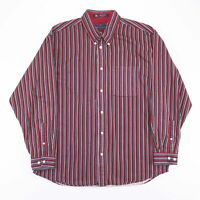 Vintage Red & Blue Striped Long Sleeve Casual Shirt Size Men's Large