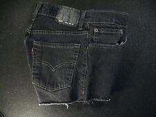 LEVIS 510 CUTOFF JEANS SHORTS Cut Off W 27 MEASURED Low Rise BLACK Super Skinny