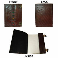 Journal Leather 7 Seven Chakras Medieval Stone Embossed Handmade Book of Shadows