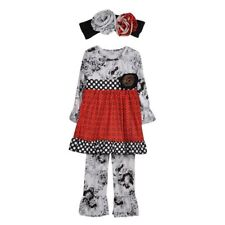NWT Girl size 2 STUNNING 3 Piece BOUTIQUE Red Black RUFFLED Outfit with HeadBand