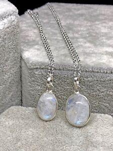 Collar Colgante Piedra de Luna 100% Natural. Plata 1ª Ley .925 Nuevo.