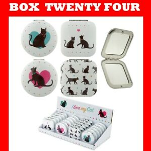 24 LOVE MY CAT Compact Mirror Gift Christmas PARTY JOB LOT WHOLESALE CLEARANCE