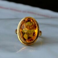 Checker Cut Madeira Citrine Quartz Sterling Silver Yellow Gold Artisan Gift Ring