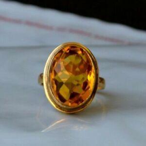 Checker Cut Madeira Citrine Quartz Sterling Silver Yellow Gold Artisan Gift Ring