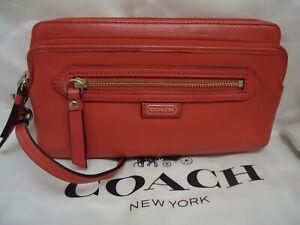 Coach Daisy Spectator Red Vermillion Leather Double Zip Wristlet Wallet 49178