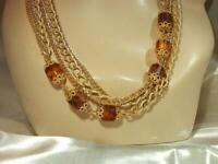 Vintage 1970's Sarah Cov Rootbeer Lucite Gold Tone Chain Long  Necklace 344J9