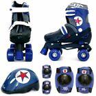 Boys Blue Black Quad Skates Kids Padded Roller Boots Safety Pads Helmet Set New
