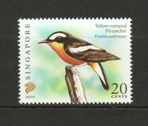 SINGAPORE 2007 YELLOW-RUMPED FLYCATCHER $0.20 1ST PRINT (2007A) 1 STAMP IN MINT