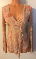 •• Women's Studio Y Size Large LS Blouse Stretch Babydoll Flowing Shirt Nice!