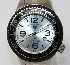 Swiss Legend Mens Neptune Black Silver Stainless Swiss Quartz Watch SL-21818