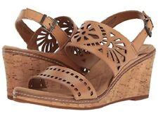 "Easy Spirit Kristina wedge sandals leather natural tan 3"" heels 11 Med NEW"