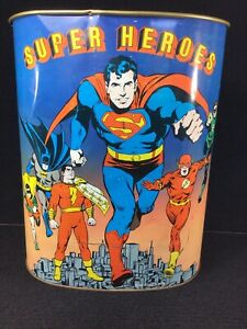 RARE VINTAGE 1978 DC COMICS SUPER HEROES METAL TRASH CAN DOUBLE SIDED. CHEINCO