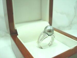Anello Oro Bianco 18 Carati 750/000 Perle Da Tahiti/Diamanti T 50 4.60 Grs