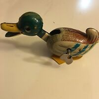 Vintage Litho Tin Toy Wind Up Mallard Duck With Moving Neck