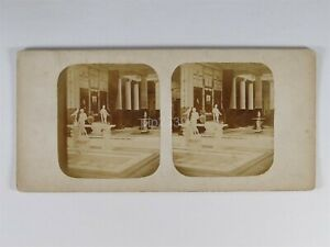 Crystal Palace Interior Statues c1850s - Stereoview T.R. Williams ?