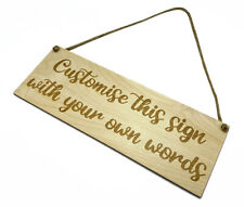 Personalised Sign Wooden Plaque Bespoke Made Customised Wall Door Hanging Gift