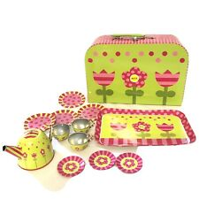 Alex Pretend Tin Tea Set Indoor Outdoor Tea Parties Floral Themed Tea Set