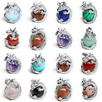 Genuine Amethyst Agate Jasper Moonstone Gems Silver Dragon Ball Necklace Pendant