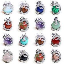 16pcs 1 Lot Amethyst Agate Jasper Moonstone Silver Dragon Ball Necklace Pendant