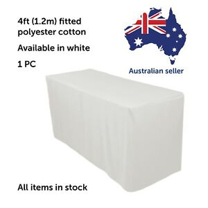 1.2m 4FT Fitted White Trestle Table Cover  Functions Weddings Parties Markets