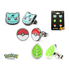 Officially Licensed Pokemon Stud Earring Set - Bulbasaur Leaf Poke Ball *NEW*