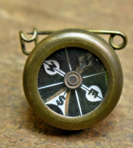 L608- Antique Original Brass Compass Pin Marbles Gladstone, Michigan