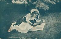 VINTAGE Australian Series Pretty Young Girl Reading Book A QUIET STUDY  POSTCARD