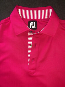 FootJoy Men's Medium Hot Pink with White Striped Accents FJ Polo Shirt