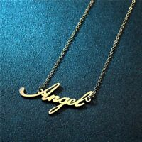 1Pc Women Gold Plated Stainless Steel Angel&Angela Pendant Necklace Jewelry Gift