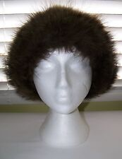 Beautiful Womens Suede Leather & Raccoon Fur Hat R.Poitras Furriers Quebec VGC