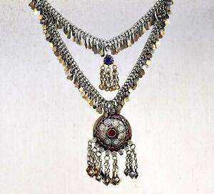 Rare Afghan Kuchi Chain Necklace Ethnic Tribal Belly Dance Boho Pendant Banjara