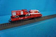 Marklin 4473 DB Four Axled Flat Car RED with Fire Trucks feuerwehr