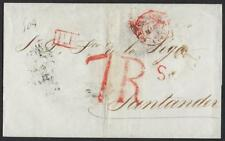 FRANCE 1834 PARIS ON FOLDED LETTER 7Rs IN RED TO SANTANDER VIA LYONNE