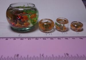 1:12 Scale Filled Glass Gold Fish Bowl  Dolls House Miniature Garden