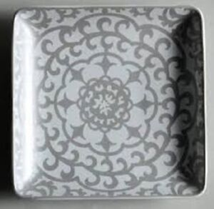 """NEW 222 Fifth Casbah Silver Set 4 Square Salad or Dessert Plates NEW 6.5""""x6.5"""""""