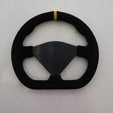 """Steering Wheel Suede 285mm 11"""" Inch Blank Flat D Shape IVA Race Car New Black"""