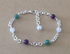 Silver Plated Chain Bracelet Green+White+Purple Suffragette Beaded Station
