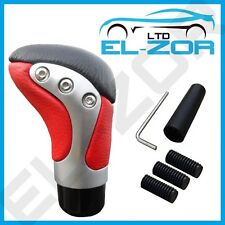 RED CHROME LEATHER GEAR SHIFT KNOB STICK MANUAL SHIFTER SELECTOR LEVER CHANGE