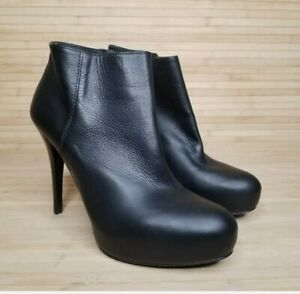 2018 Stuart Weitzman Black Leather  Platform High Heel Ankle Boots Women's 7B